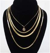 Four Vintage 14kt Yellow Gold Necklace Chains