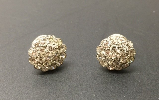 Estate 2.28 Carat Diamond Floral Motif Earrings
