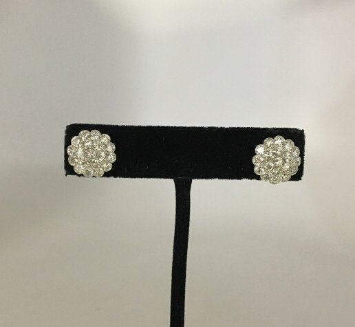 Estate 2.28 Carat Diamond Floral Motif Earrings - 2
