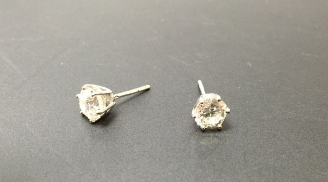 Estate 2.20 Carat Diamond & Gold Stud Earrings