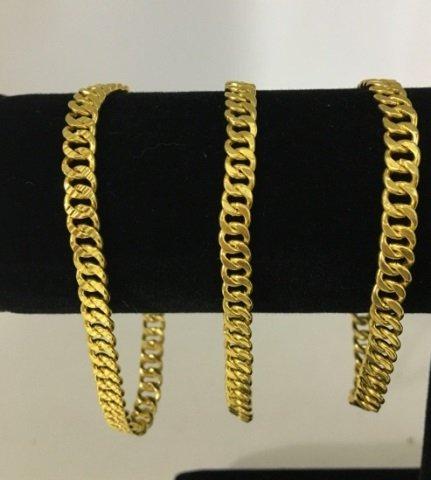 3 Estate 18kt Yellow Gold Chain Bracelets 38 Grams