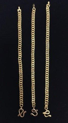 3 Estate 18kt Yellow Gold Chain Bracelets 38 Grams - 2