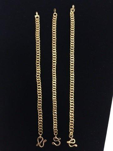 3 Estate 18kt Yellow Gold Chain Bracelets 38 Grams - 5