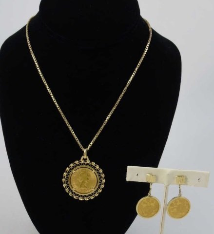 Estate 18kt Yellow Gold Coin Mount Jewelry Suite