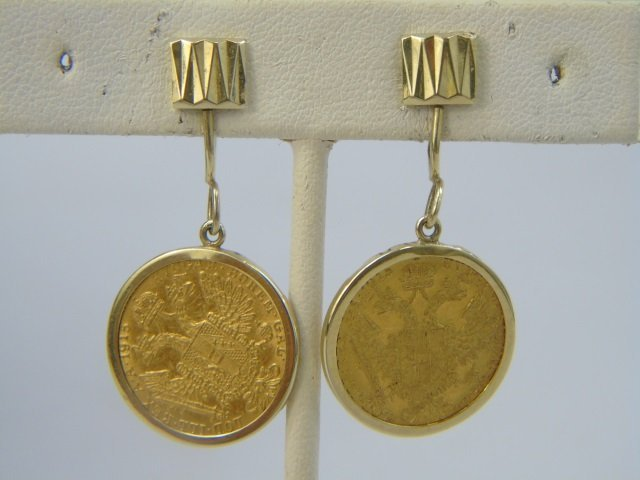 Estate 18kt Yellow Gold Coin Mount Jewelry Suite - 2