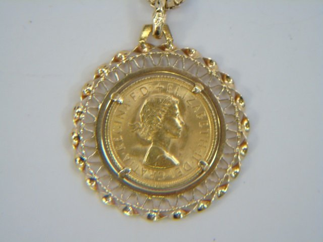 Estate 18kt Yellow Gold Coin Mount Jewelry Suite - 6