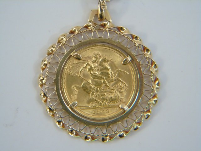 Estate 18kt Yellow Gold Coin Mount Jewelry Suite - 7