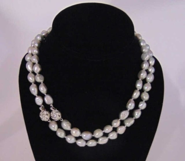 Pair Silver Tone Cultured Baroque Pearl Necklaces