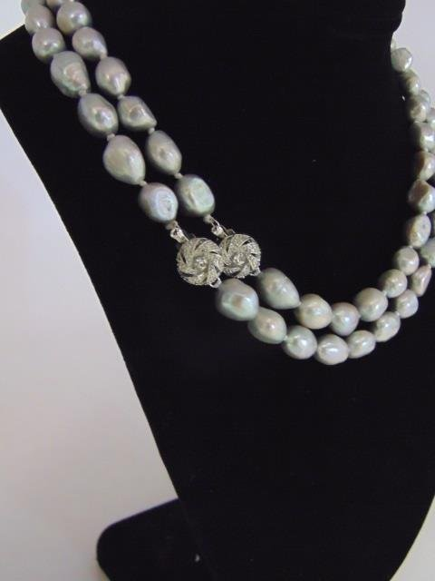 Pair Silver Tone Cultured Baroque Pearl Necklaces - 2