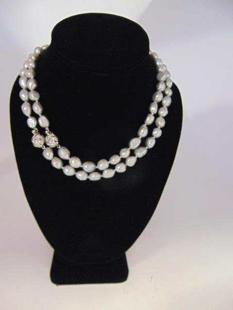 Pair Silver Tone Cultured Baroque Pearl Necklaces - 3