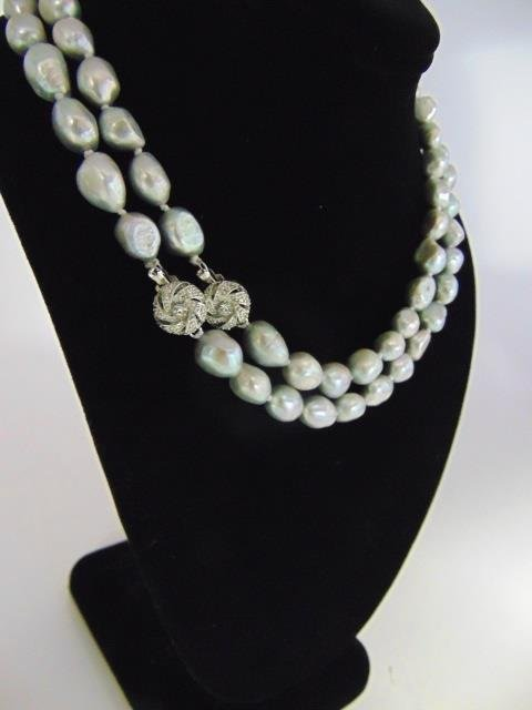 Pair Silver Tone Cultured Baroque Pearl Necklaces - 4