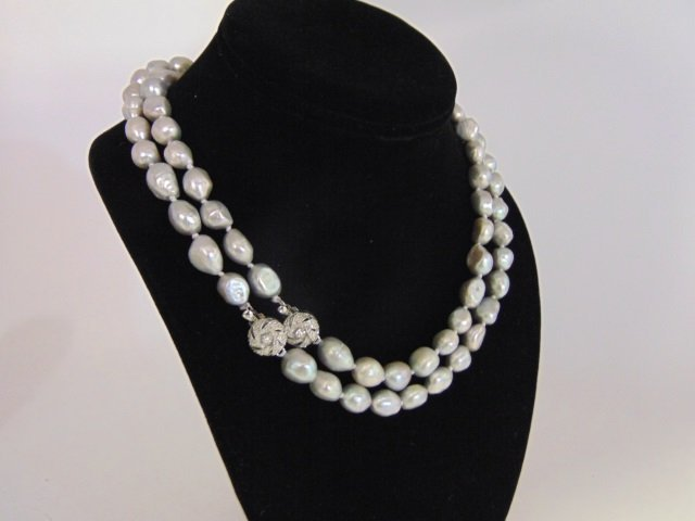 Pair Silver Tone Cultured Baroque Pearl Necklaces - 5