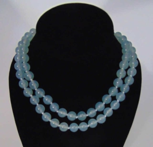 Pair Hand Knotted Blue Topaz Beaded Necklaces