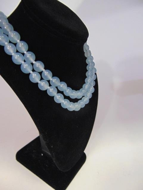 Pair Hand Knotted Blue Topaz Beaded Necklaces - 3