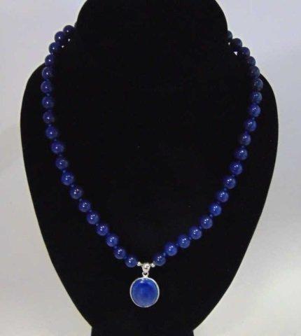 Carved Lapis Lazuli Beaded Necklace w Pendant