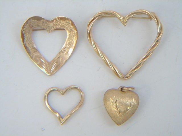 4 Estate 14kt Yellow Gold Heart Pendants / Pins