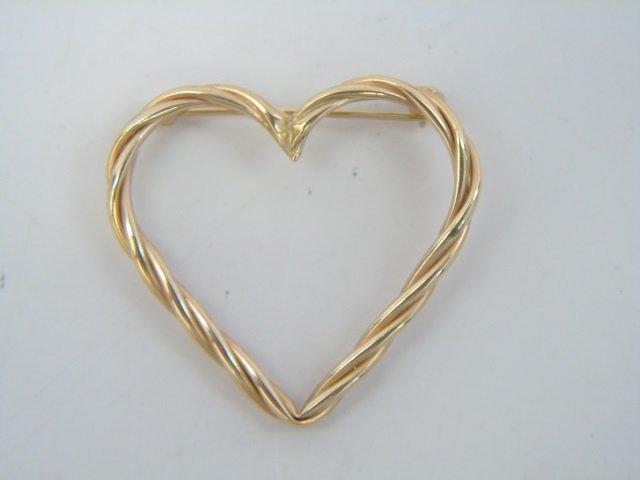 4 Estate 14kt Yellow Gold Heart Pendants / Pins - 2