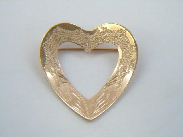 4 Estate 14kt Yellow Gold Heart Pendants / Pins - 3