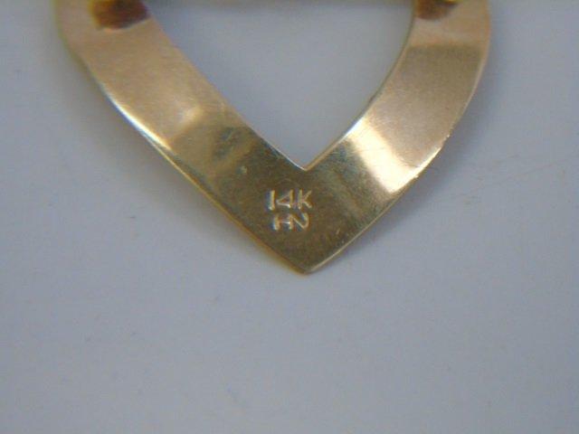 4 Estate 14kt Yellow Gold Heart Pendants / Pins - 4
