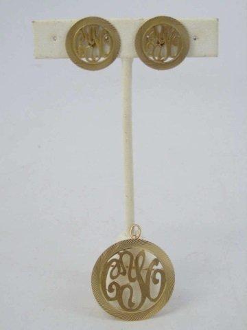 Estate 14kt Yellow Gold Pendant & Earrings Set