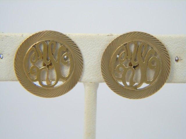 Estate 14kt Yellow Gold Pendant & Earrings Set - 2