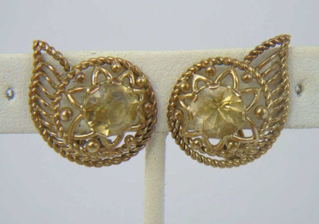Estate Citrine & Yellow Gold Paisley Form Earrings