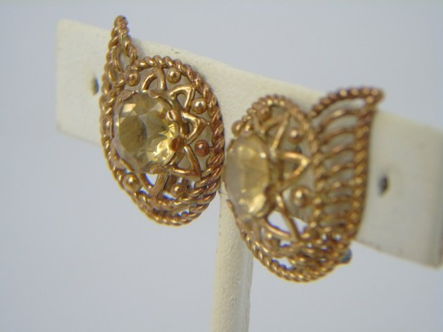 Estate Citrine & Yellow Gold Paisley Form Earrings - 2