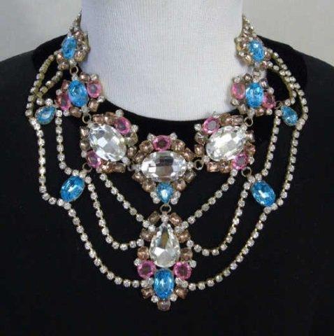 Large Rhinestone & Paste Jeweled Costume Necklace