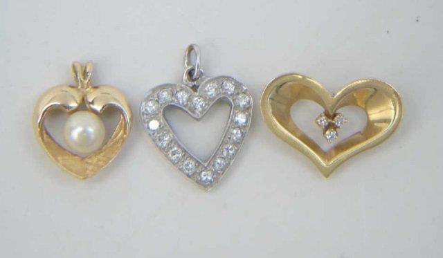 Estate Lot - 3 Gold Diamond & Pearl Heart Pendants