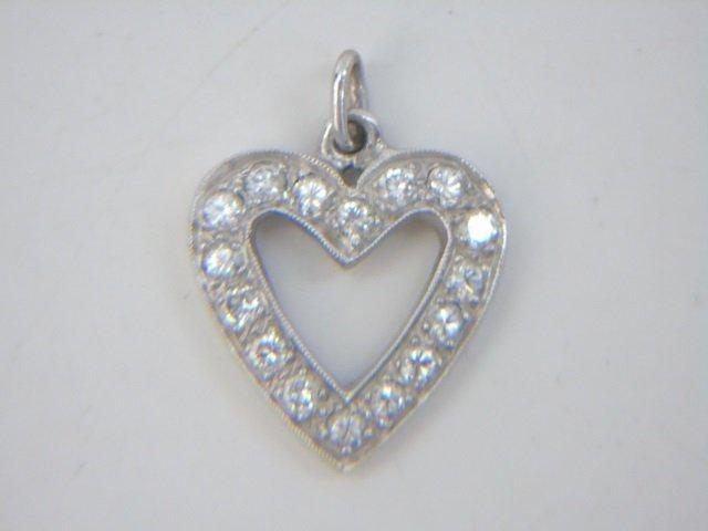 Estate Lot - 3 Gold Diamond & Pearl Heart Pendants - 2