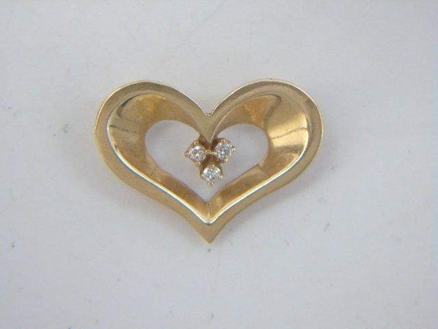 Estate Lot - 3 Gold Diamond & Pearl Heart Pendants - 3