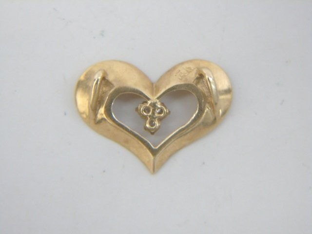 Estate Lot - 3 Gold Diamond & Pearl Heart Pendants - 4