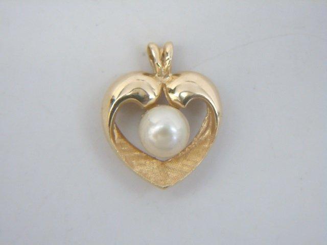 Estate Lot - 3 Gold Diamond & Pearl Heart Pendants - 7