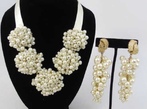 Vintage Chanel Style Pearl Earrings & Necklace