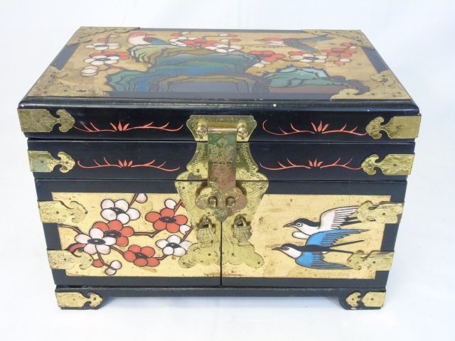Vintage Chinese Carved & Painted Jewelry Box