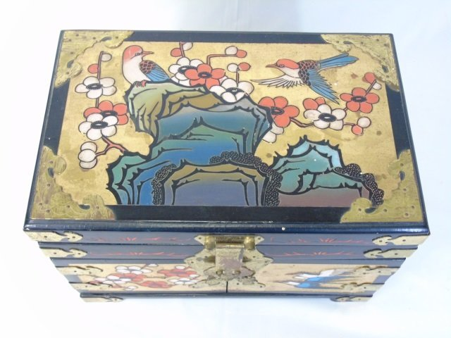Vintage Chinese Carved & Painted Jewelry Box - 2