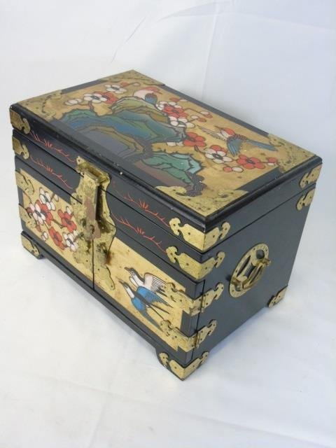 Vintage Chinese Carved & Painted Jewelry Box - 3