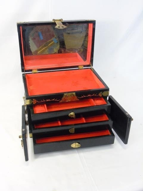 Vintage Chinese Carved & Painted Jewelry Box - 4