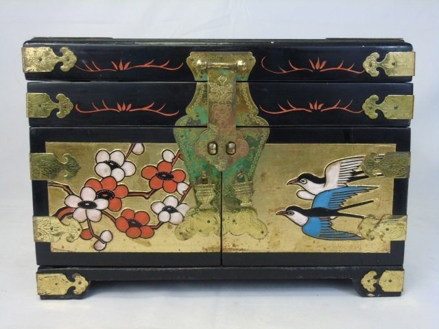 Vintage Chinese Carved & Painted Jewelry Box - 5