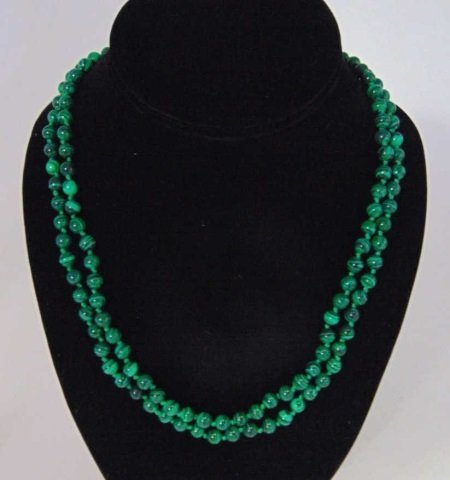 Pair of Carved Malachite Hand Knotted Necklaces