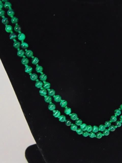 Pair of Carved Malachite Hand Knotted Necklaces - 2
