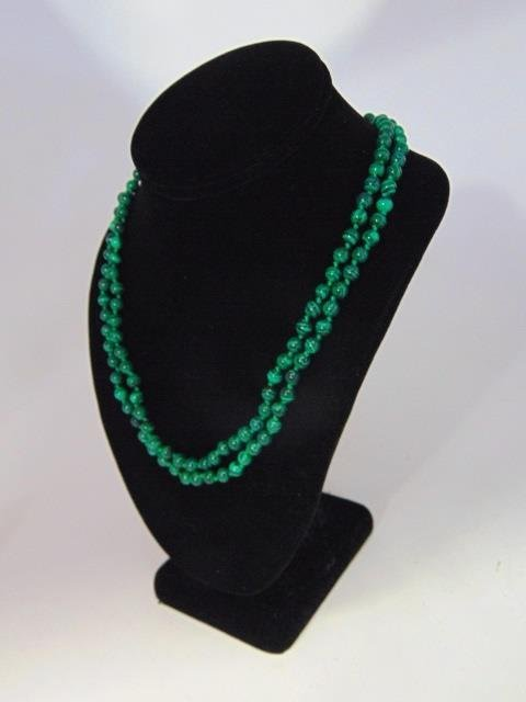 Pair of Carved Malachite Hand Knotted Necklaces - 3