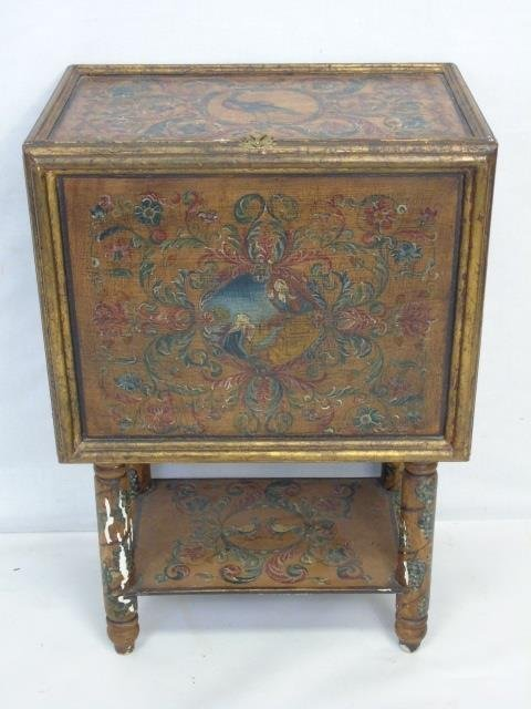 Vintage Hand Painted Jewelry Box on Stand - 2