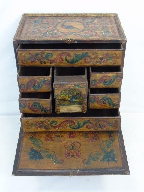 Vintage Hand Painted Jewelry Box on Stand - 4