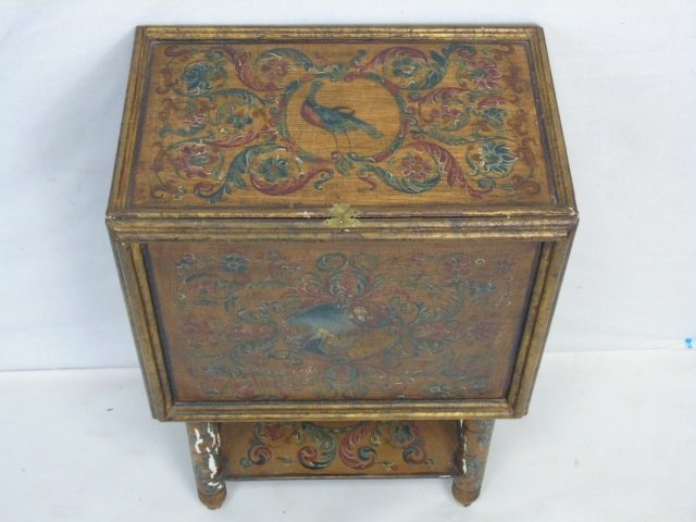 Vintage Hand Painted Jewelry Box on Stand - 5
