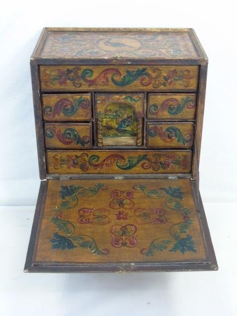 Vintage Hand Painted Jewelry Box on Stand - 6