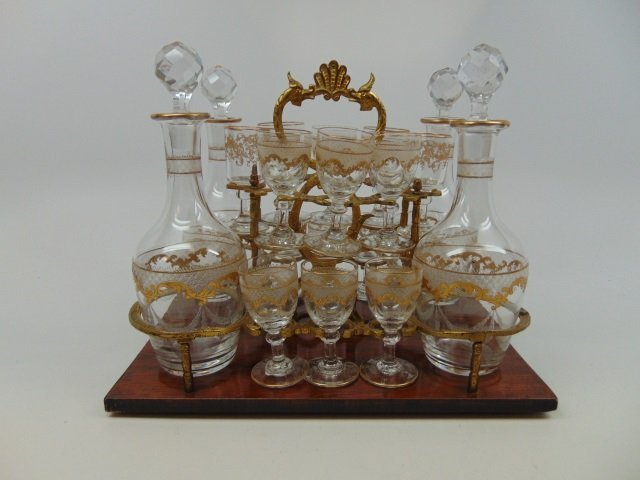 Antique French Gilt Decorated Glass Tantalus Set