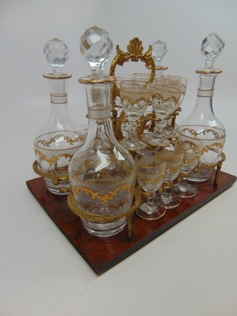 Antique French Gilt Decorated Glass Tantalus Set - 2