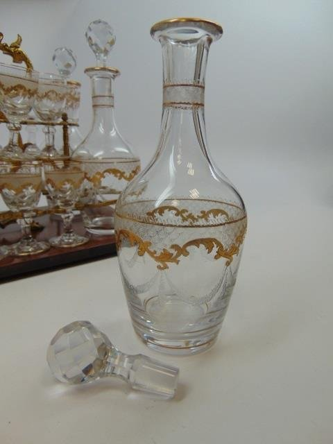 Antique French Gilt Decorated Glass Tantalus Set - 4