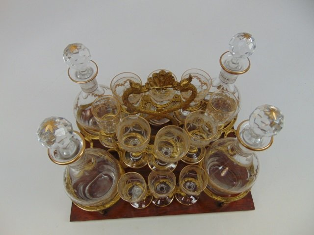 Antique French Gilt Decorated Glass Tantalus Set - 5